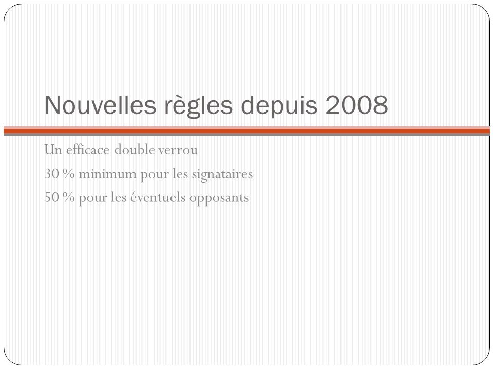 Nouvelles règles depuis 2008