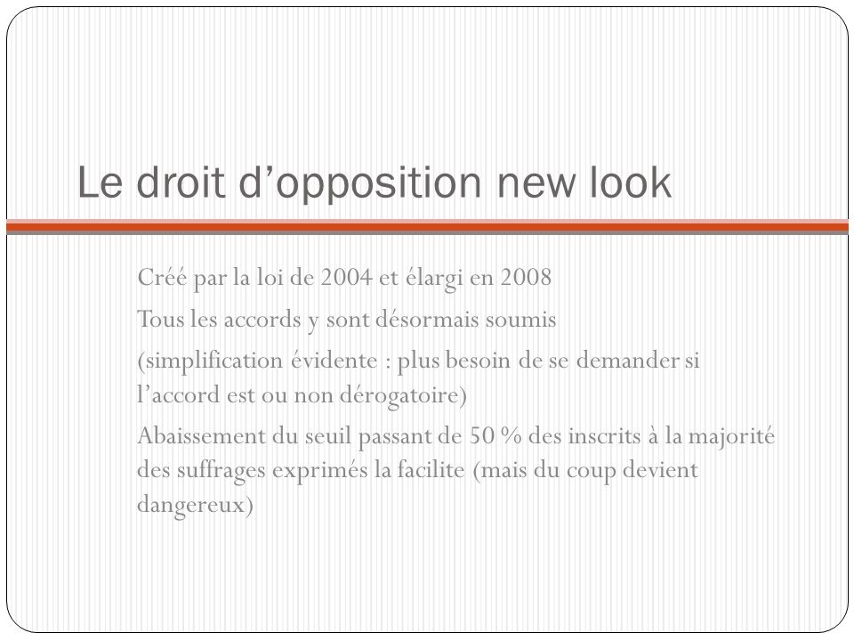 Le droit d'opposition new look