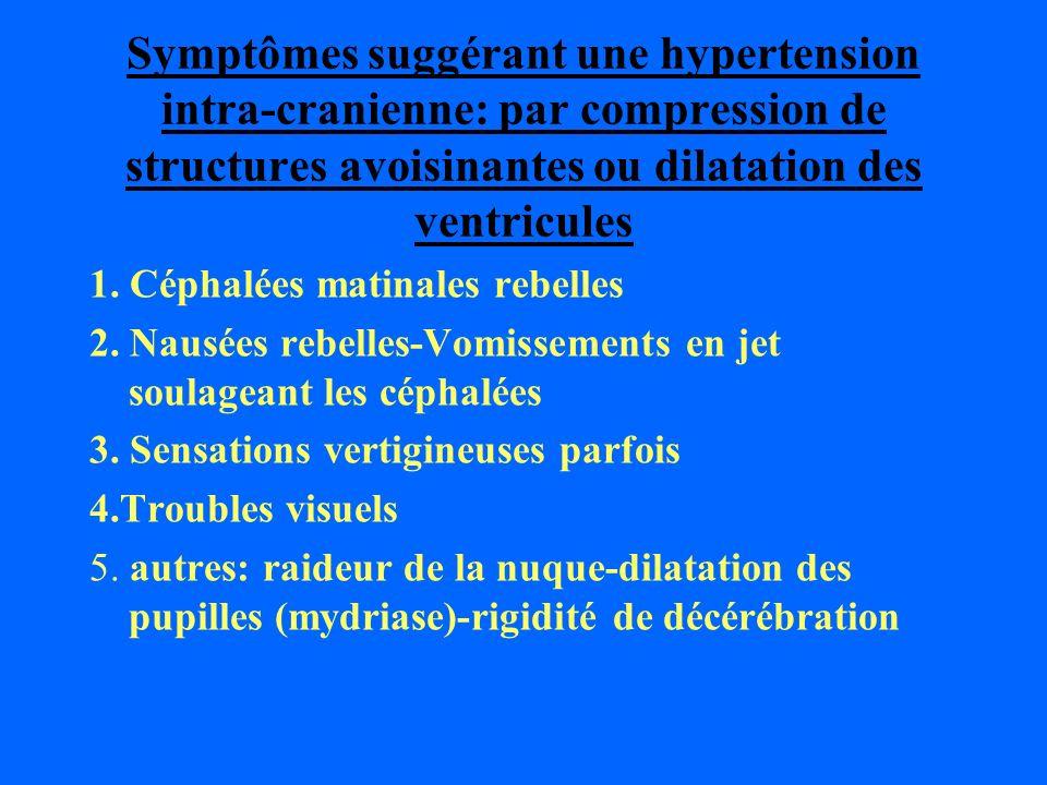 Symptômes suggérant une hypertension intra-cranienne: par compression de structures avoisinantes ou dilatation des ventricules