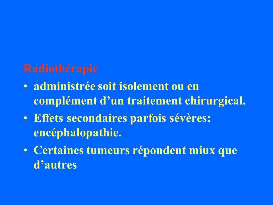 Radiothérapie administrée soit isolement ou en complément d'un traitement chirurgical. Effets secondaires parfois sévères: encéphalopathie.