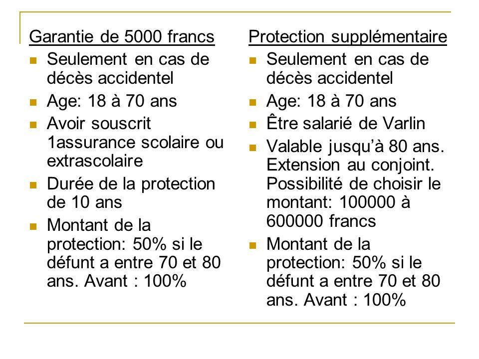 Garantie de 5000 francs Seulement en cas de décès accidentel. Age: 18 à 70 ans. Avoir souscrit 1assurance scolaire ou extrascolaire.