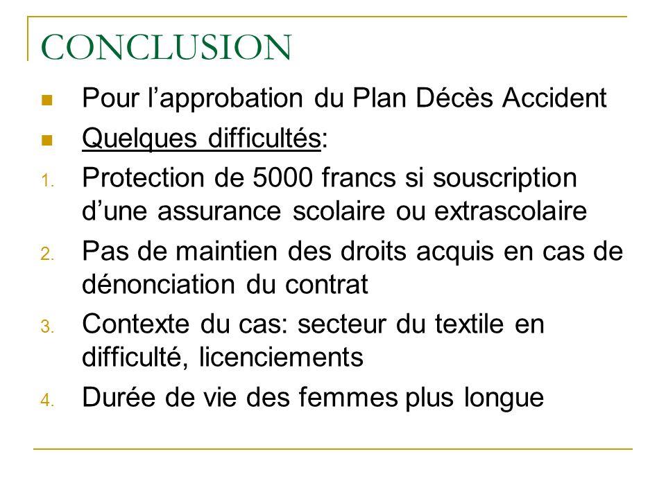 CONCLUSION Pour l'approbation du Plan Décès Accident