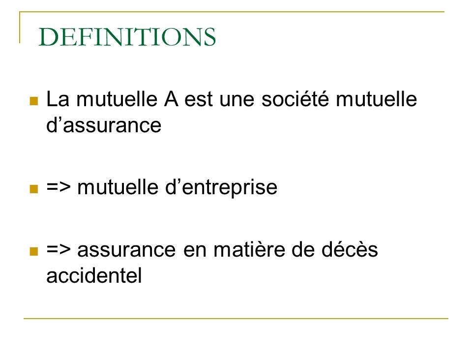 DEFINITIONS La mutuelle A est une société mutuelle d'assurance