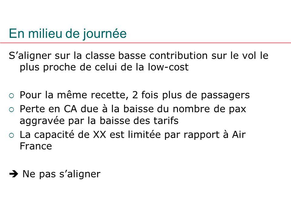 En milieu de journée S'aligner sur la classe basse contribution sur le vol le plus proche de celui de la low-cost.