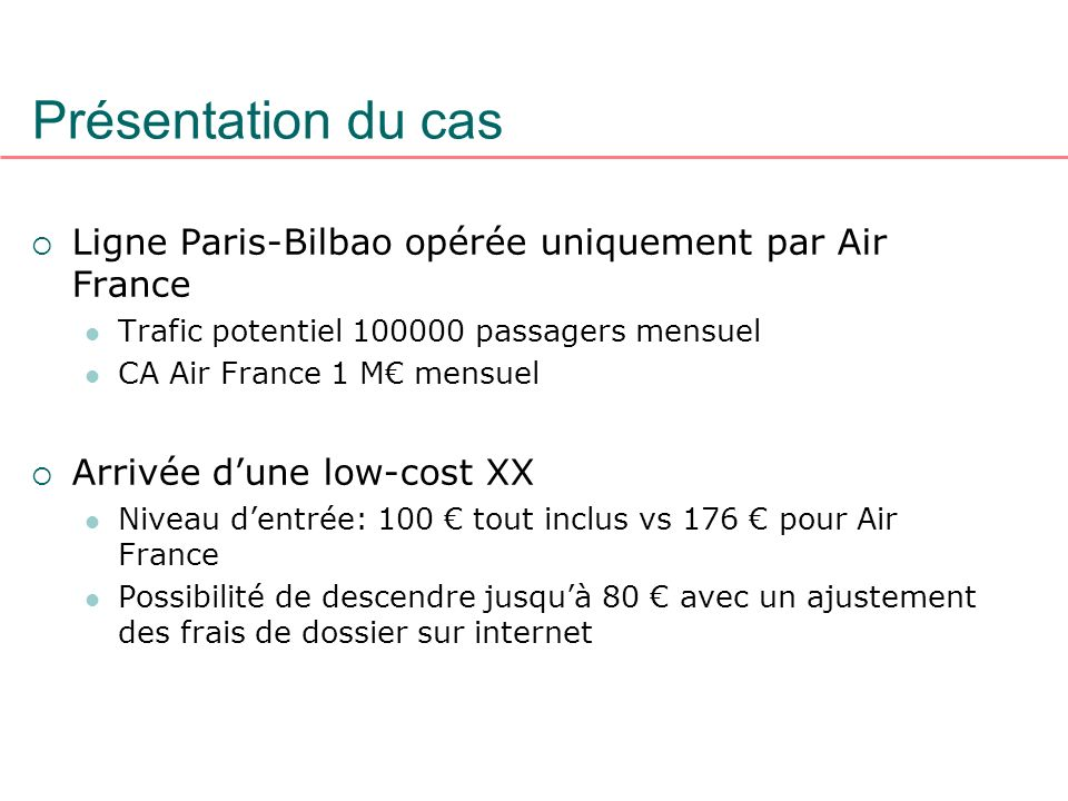 Présentation du casLigne Paris-Bilbao opérée uniquement par Air France. Trafic potentiel 100000 passagers mensuel.