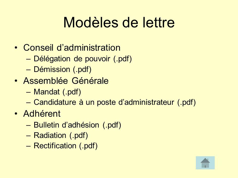 Modèles de lettre Conseil d'administration Assemblée Générale Adhérent