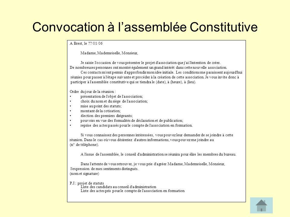 Convocation à l'assemblée Constitutive
