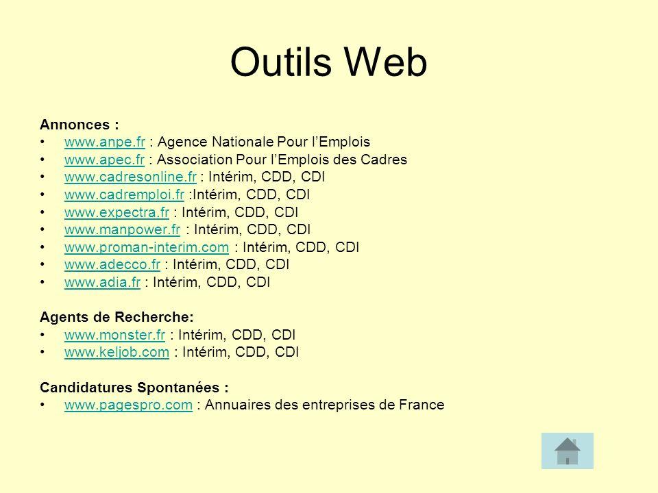 Outils Web Annonces : www.anpe.fr : Agence Nationale Pour l'Emplois