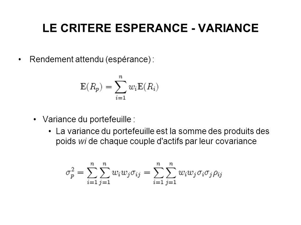 LE CRITERE ESPERANCE - VARIANCE
