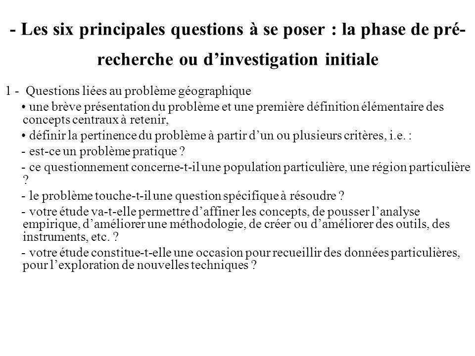 - Les six principales questions à se poser : la phase de pré-recherche ou d'investigation initiale