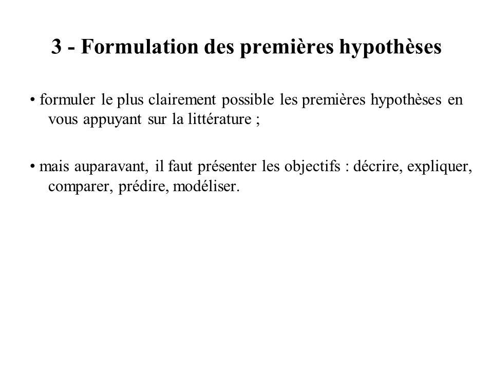 3 - Formulation des premières hypothèses