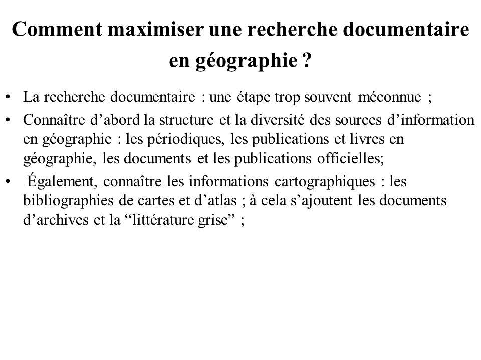 Comment maximiser une recherche documentaire en géographie