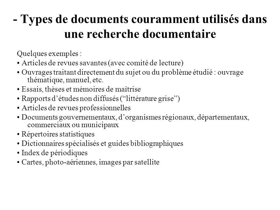 - Types de documents couramment utilisés dans une recherche documentaire