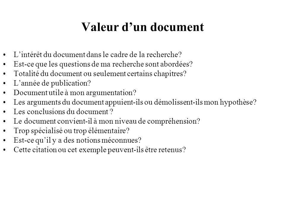Valeur d'un document L'intérêt du document dans le cadre de la recherche Est-ce que les questions de ma recherche sont abordées