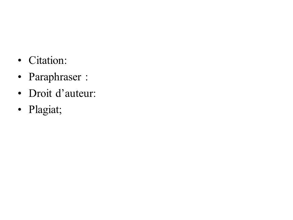 Citation: Paraphraser : Droit d'auteur: Plagiat;