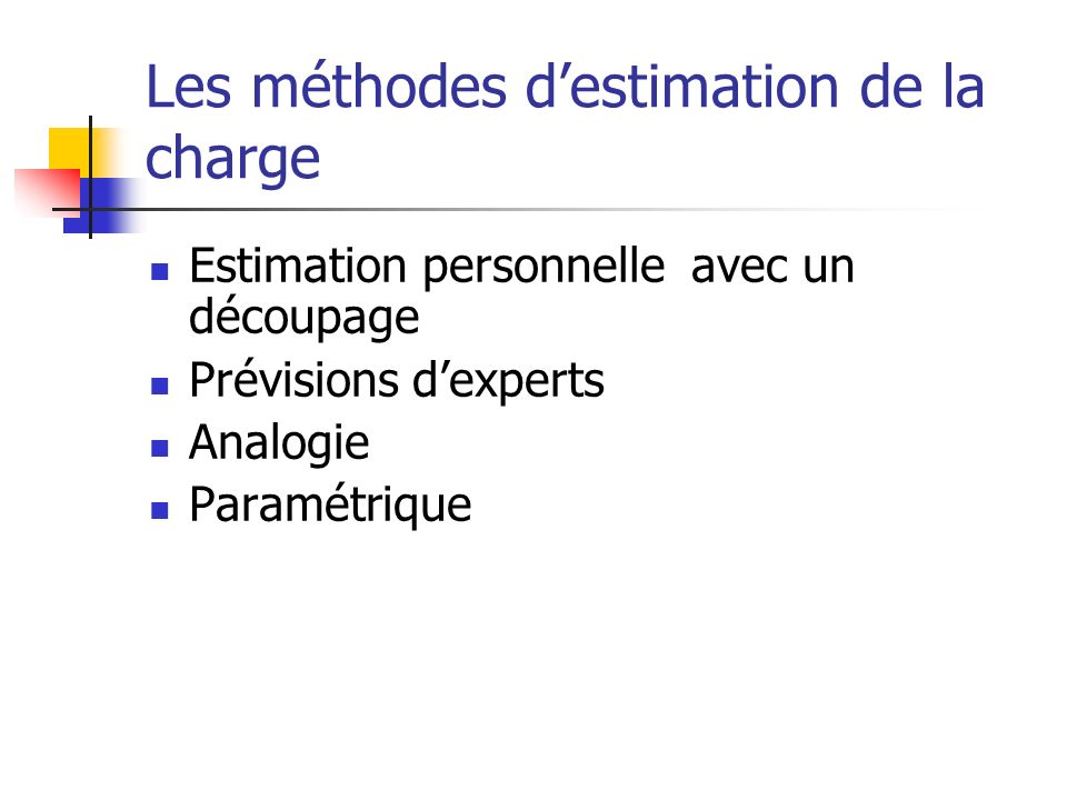 Les méthodes d'estimation de la charge