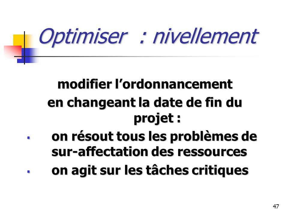 Optimiser : nivellement