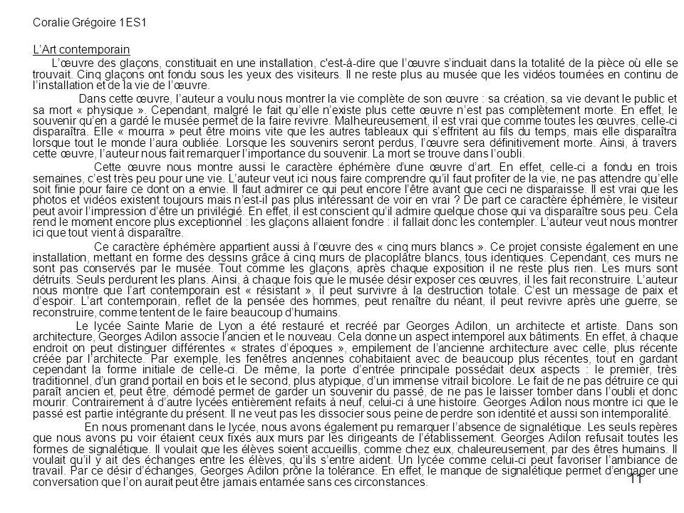 Coralie Grégoire 1ES1 L'Art contemporain.