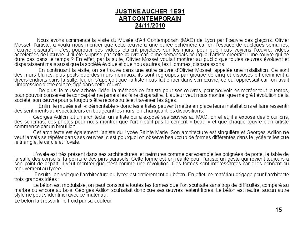 JUSTINE AUCHER 1ES1 ART CONTEMPORAIN 24/11/2010