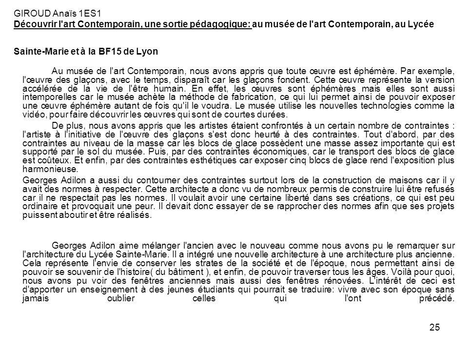 GIROUD Anaïs 1ES1 Découvrir l art Contemporain, une sortie pédagogique: au musée de l art Contemporain, au Lycée Sainte-Marie et à la BF15 de Lyon