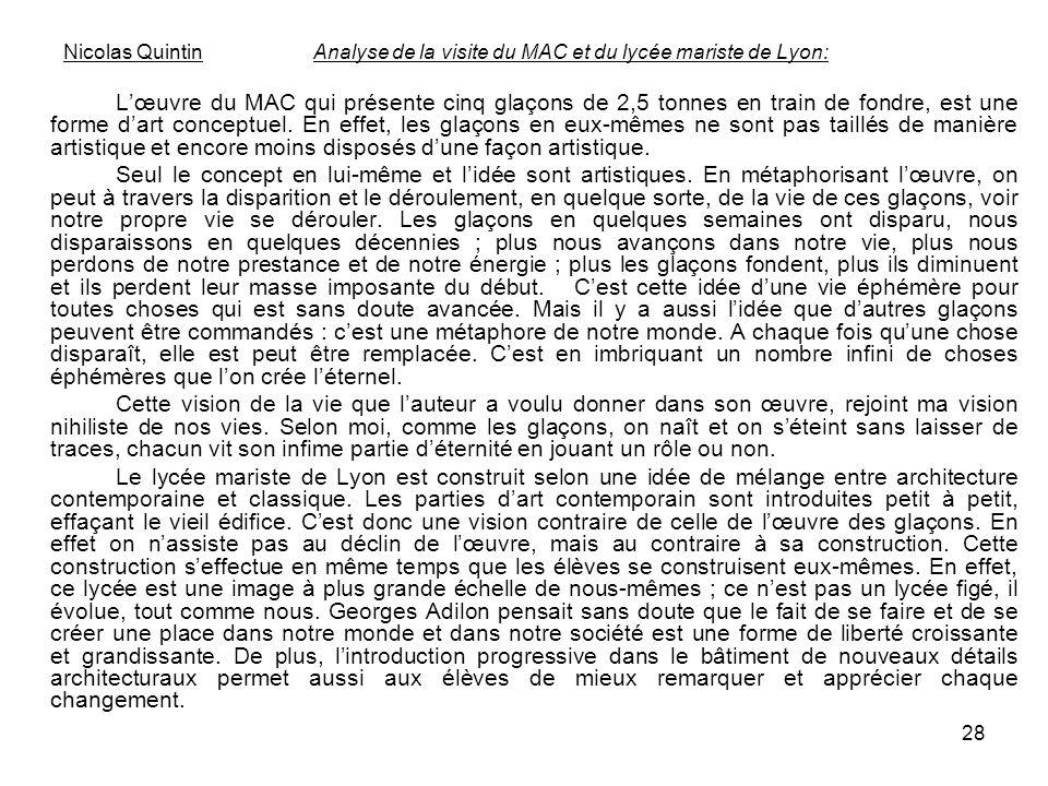Nicolas Quintin Analyse de la visite du MAC et du lycée mariste de Lyon: