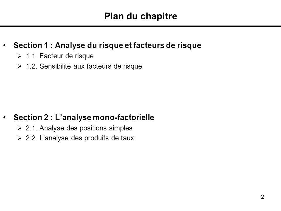Plan du chapitre Section 1 : Analyse du risque et facteurs de risque