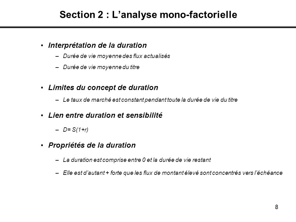 Section 2 : L'analyse mono-factorielle