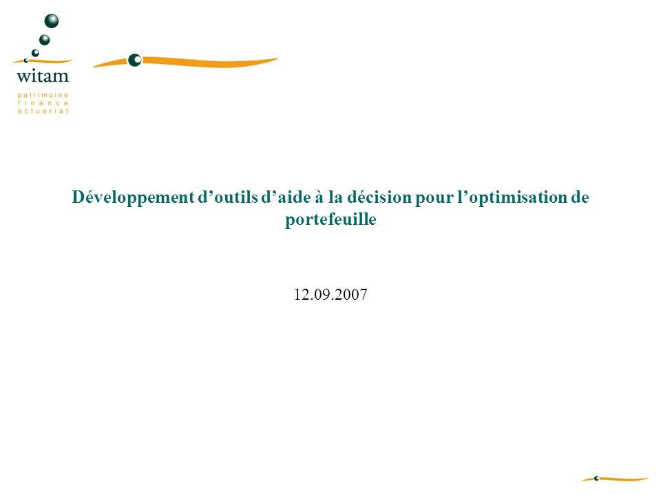 Développement d'outils d'aide à la décision pour l'optimisation de portefeuille