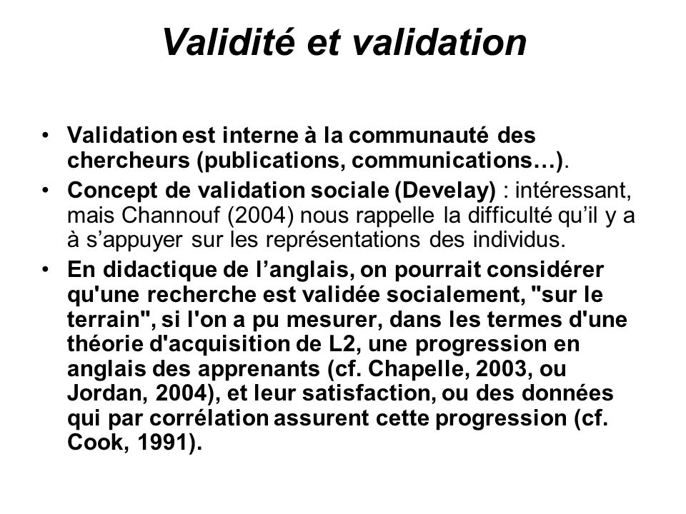 Validité et validation