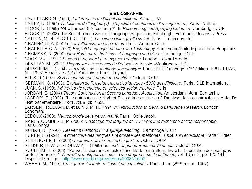 BIBLIOGRAPHIE BACHELARD, G. (1938). La formation de l esprit scientifique. Paris : J. Vr.