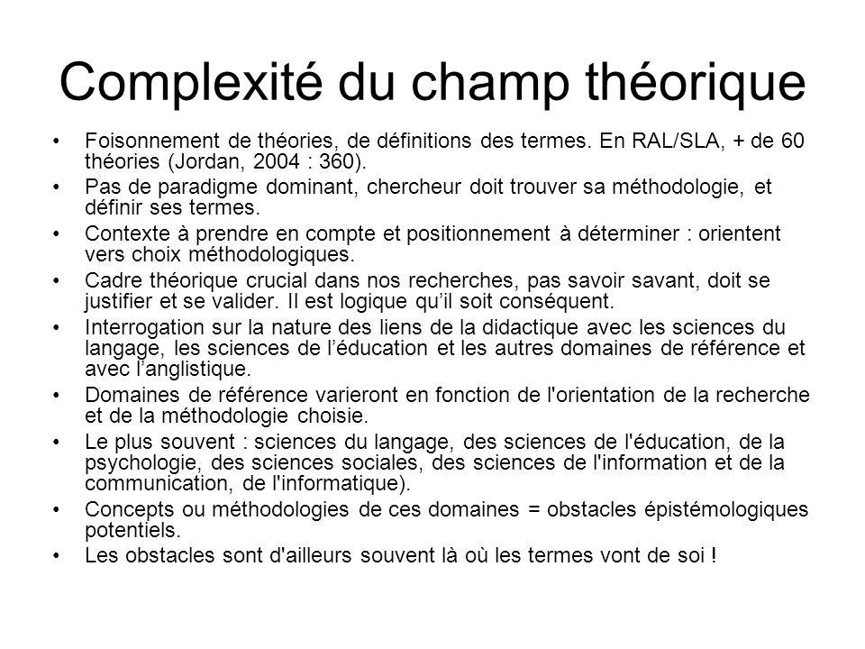 Complexité du champ théorique