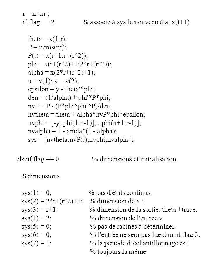 r = n+m ; if flag == 2 % associe à sys le nouveau état x(t+1). theta = x(1:r); P = zeros(r,r);