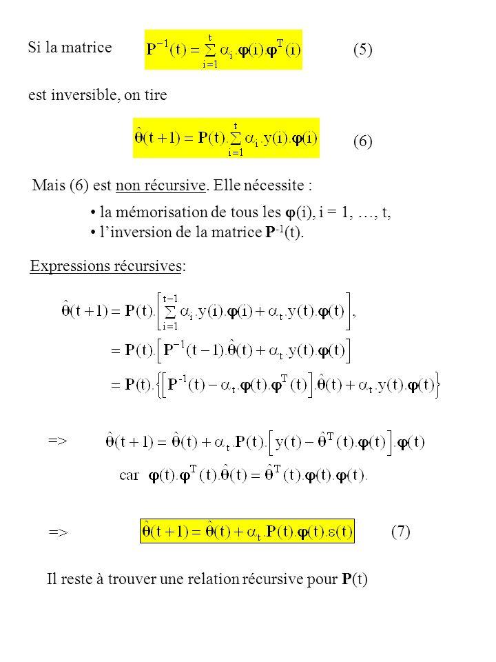 Si la matrice (5) est inversible, on tire. (6) Mais (6) est non récursive. Elle nécessite : la mémorisation de tous les j(i), i = 1, …, t,