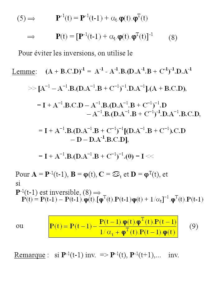 (5)   (8) Pour éviter les inversions, on utilise le. Lemme: Pour A = P-1(t-1), B = j(t), C = at et D = jT(t), et si.