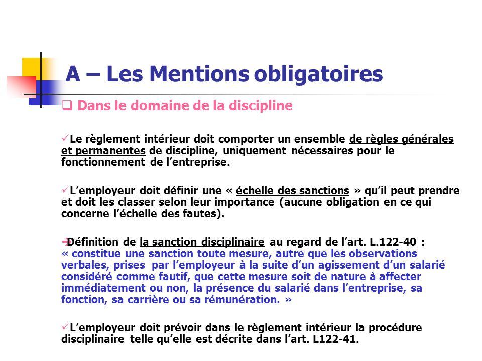 A – Les Mentions obligatoires