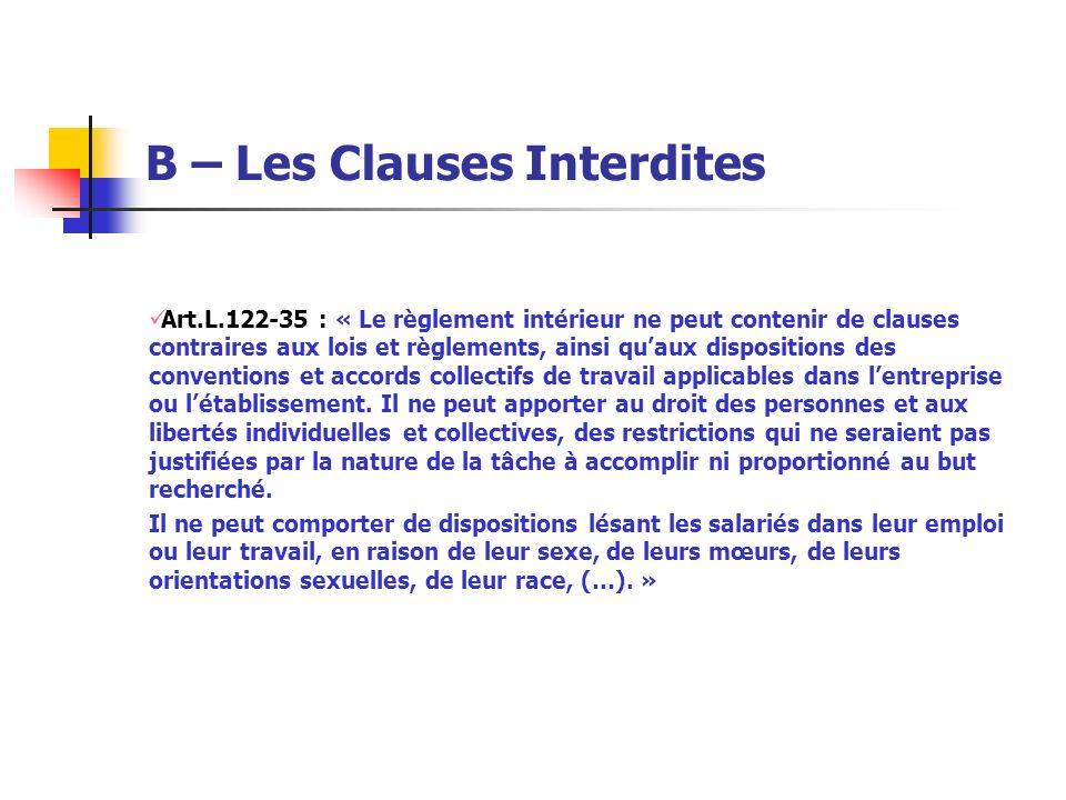 B – Les Clauses Interdites