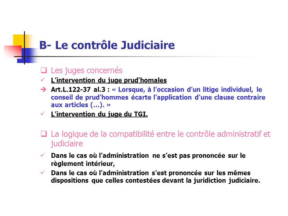 B- Le contrôle Judiciaire