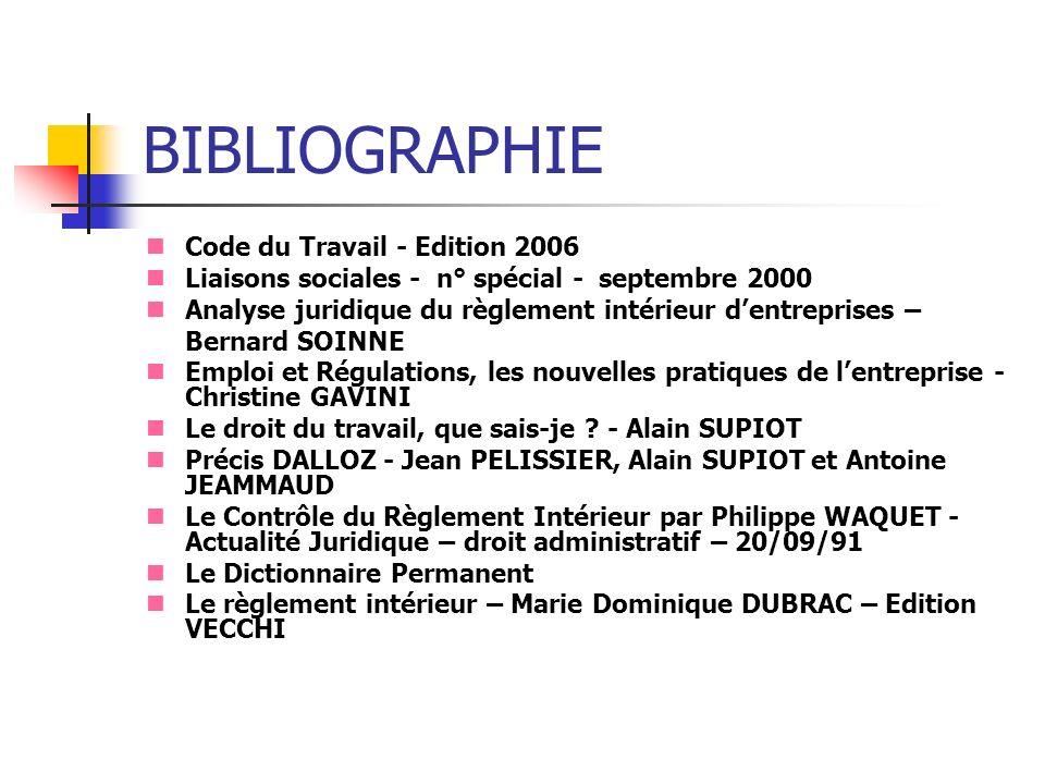 BIBLIOGRAPHIE Code du Travail - Edition 2006