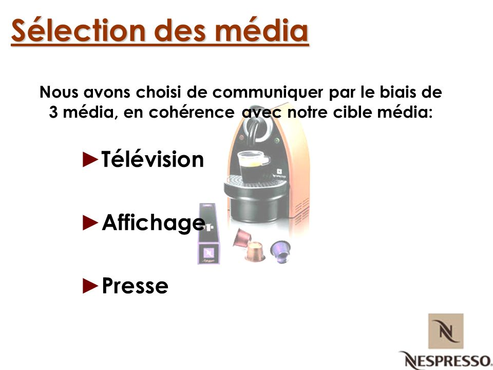 Sélection des média Télévision Affichage Presse