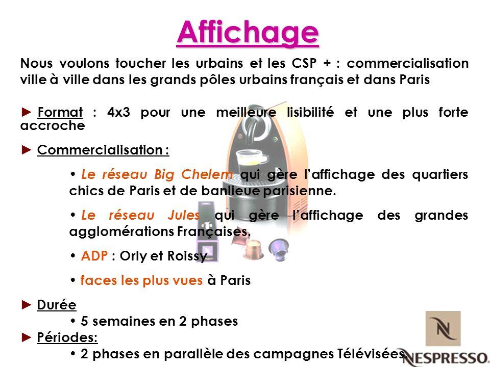 Affichage Nous voulons toucher les urbains et les CSP + : commercialisation ville à ville dans les grands pôles urbains français et dans Paris.