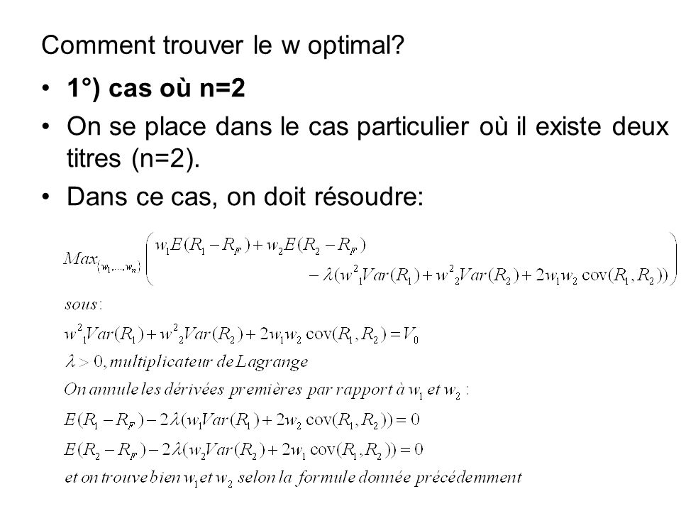 Comment trouver le w optimal