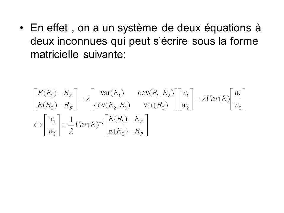 En effet , on a un système de deux équations à deux inconnues qui peut s'écrire sous la forme matricielle suivante:
