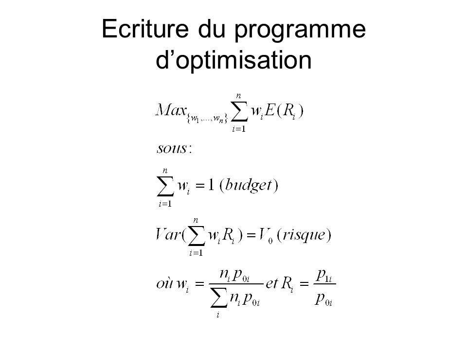 Ecriture du programme d'optimisation