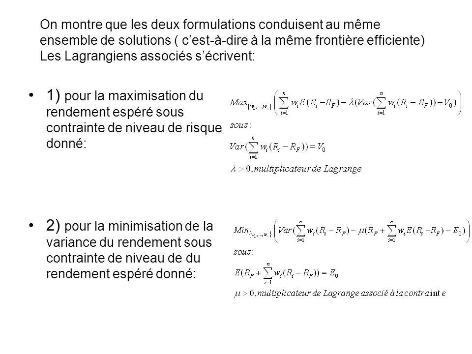 On montre que les deux formulations conduisent au même ensemble de solutions ( c'est-à-dire à la même frontière efficiente) Les Lagrangiens associés s'écrivent: