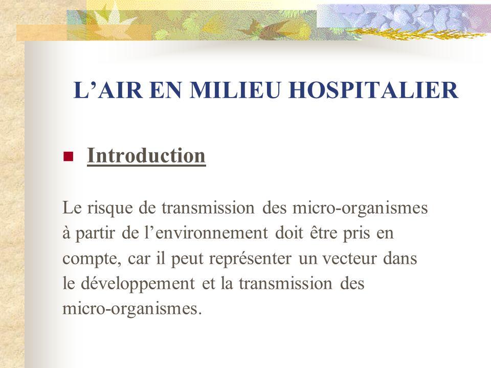 L'AIR EN MILIEU HOSPITALIER