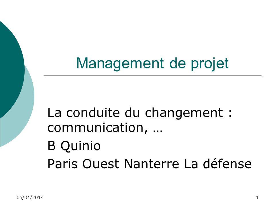 Management de projet La conduite du changement : communication, …