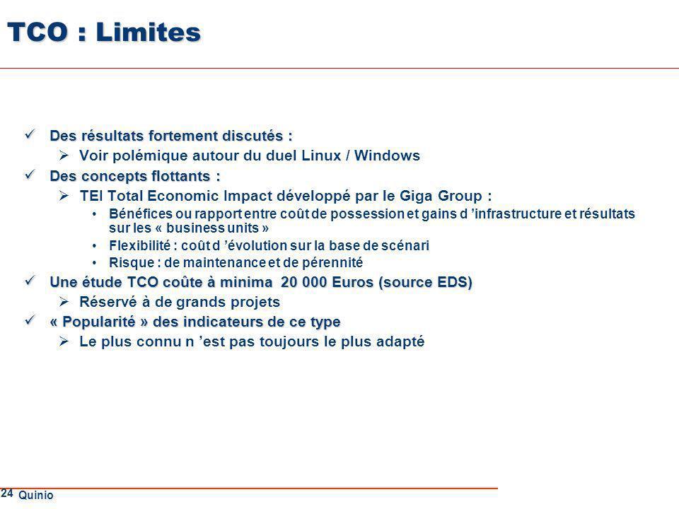 TCO : Limites Des résultats fortement discutés :