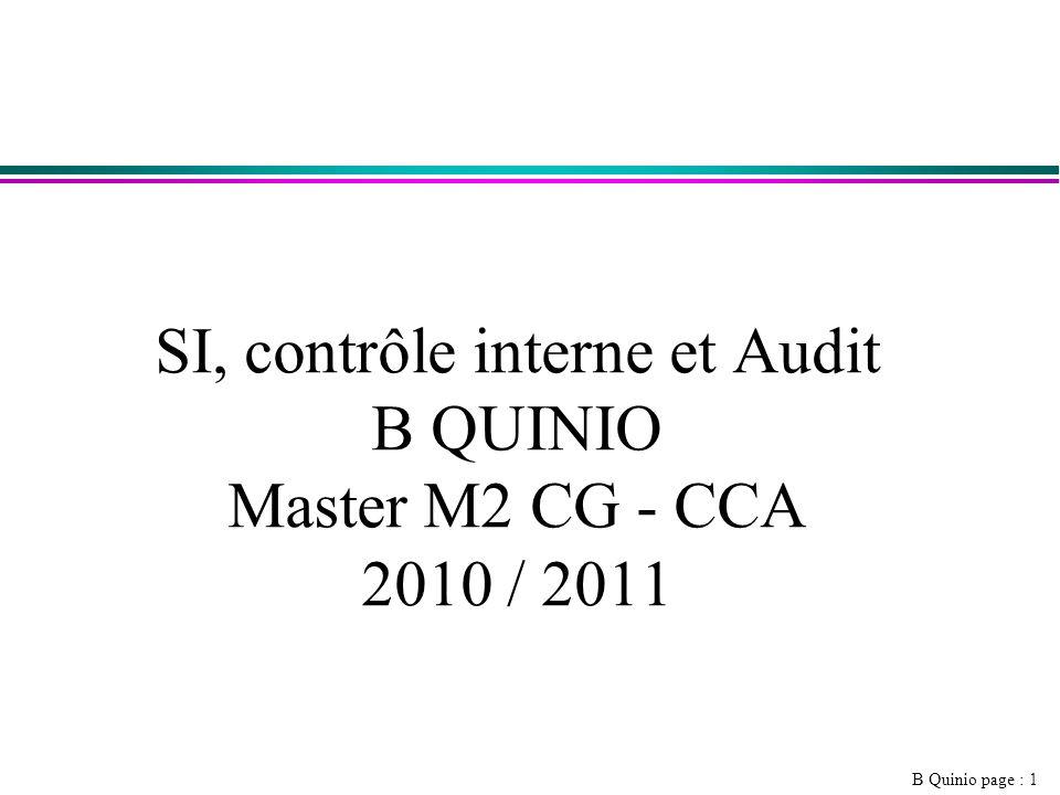 SI, contrôle interne et Audit B QUINIO Master M2 CG - CCA 2010 / 2011