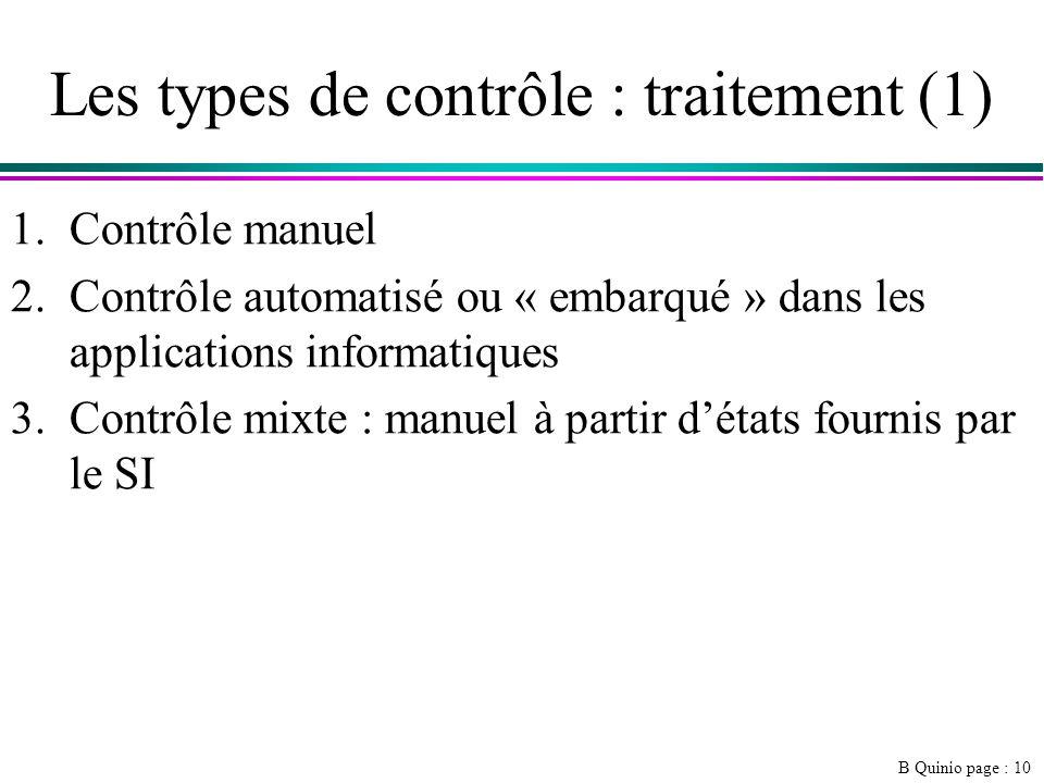 Les types de contrôle : traitement (1)