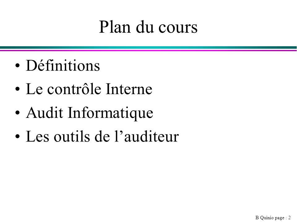 Plan du cours Définitions Le contrôle Interne Audit Informatique